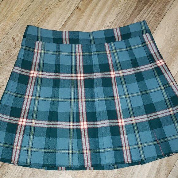 Aritzia Teal/White/Red Pleated Plaid/Tartan Skirt